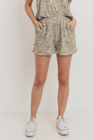 Floral Printed Terry Ruffled Pocket Short Pants