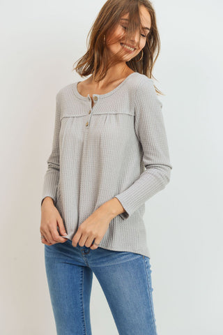 Waffle Button Down Long Sleeves Top