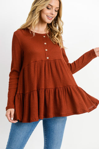 Waffle Button Down Detailed Layered Top
