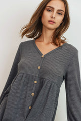 Waffle Button Down Long Sleeve Top