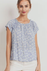 Floral Printed Shirring Neck Short Sleeve Top