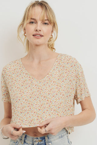 Floral Printed Woven Shring Shoulder Short Sleeve Top