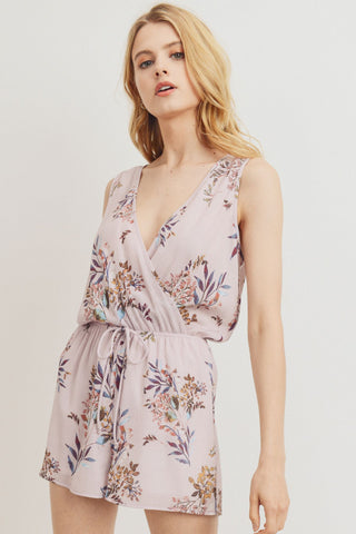 Floral Printed Woven Surplice Sleeveless Romper