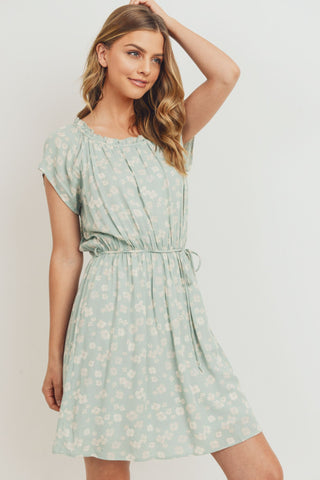 Floral Shirring Neck Gathered Waist Dress