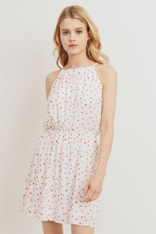 Floral Printed Woven Spaghetti Neck Dress