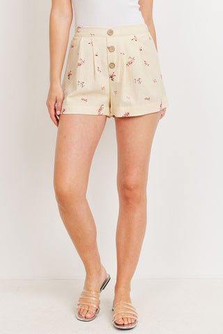 Floral Linen Pleated Short