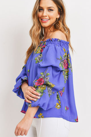Floral Off The Shoulder With Ruffled Sleeves