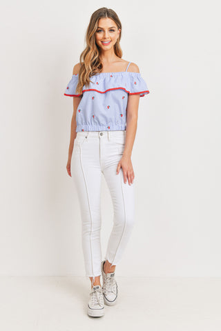 Cherry Embroidered Off The Shoulder Crop Top