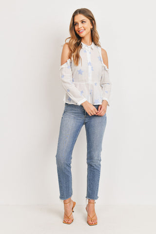 Star Print Cold Shoulder Button Down