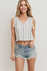Printed Woven Shoulder Gathered With Tassle Sleeveless Top