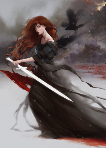 Celtic goddess of death Morrigan in battle crow Al Muse artist
