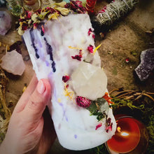 Load and play video in Gallery viewer, Child of the Scorpio Moon Candle with Clear Quartz & Calcite