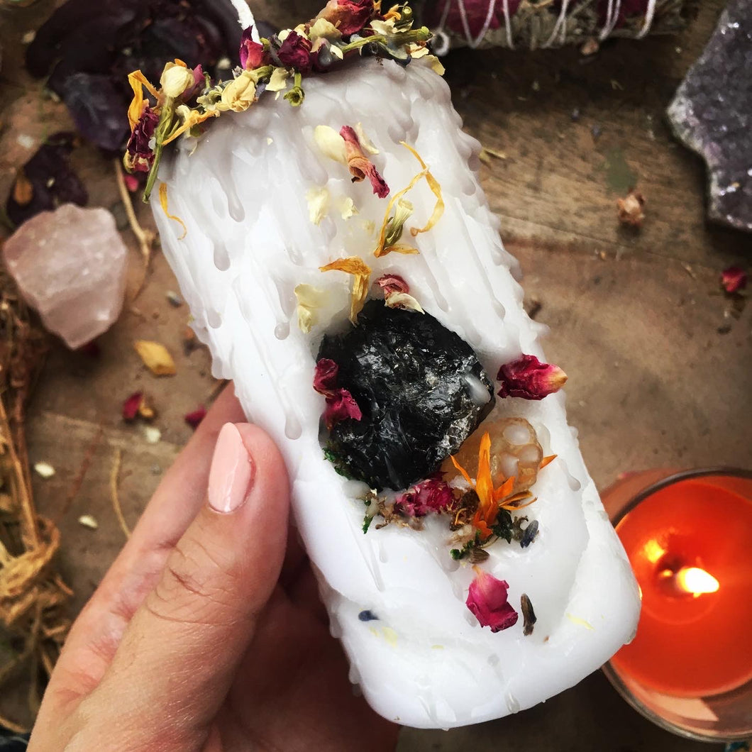 Cave Dweller Mini Spell Candle with Smokey Quartz & Citrine