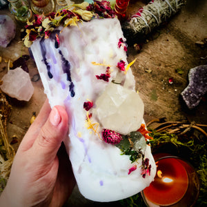 Child of the Scorpio Moon Candle with Clear Quartz & Calcite