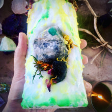 Load image into Gallery viewer, Green Queen Candle with Rough Emerald & Black Tourmaline