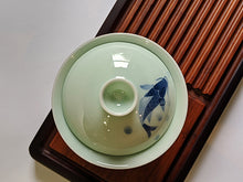 "Load image into Gallery viewer, Jade Porcelain ""Koi Frolicking"" Gaiwan for Gong Fu Tea"