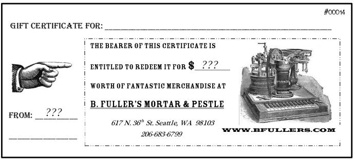 B. Fullers Mortar and Pestle Gift Card