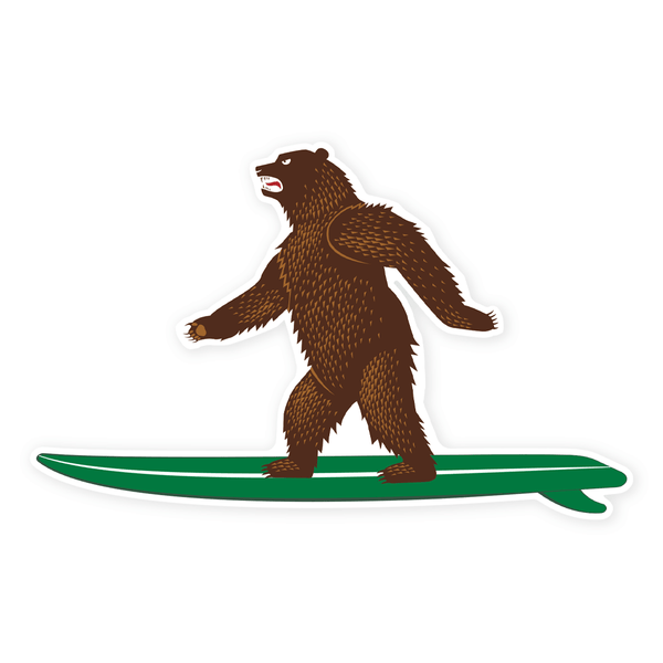 PDW CA Surf Bear Sticker
