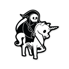 PDW Death Rides a Unicorn Sticker