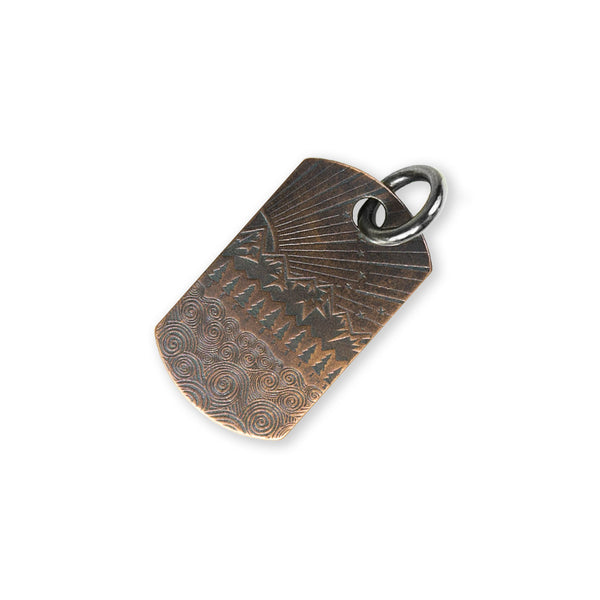 Steel Flame Copper Dog Tag - All Terrain/Gray Knights with Jump Ring