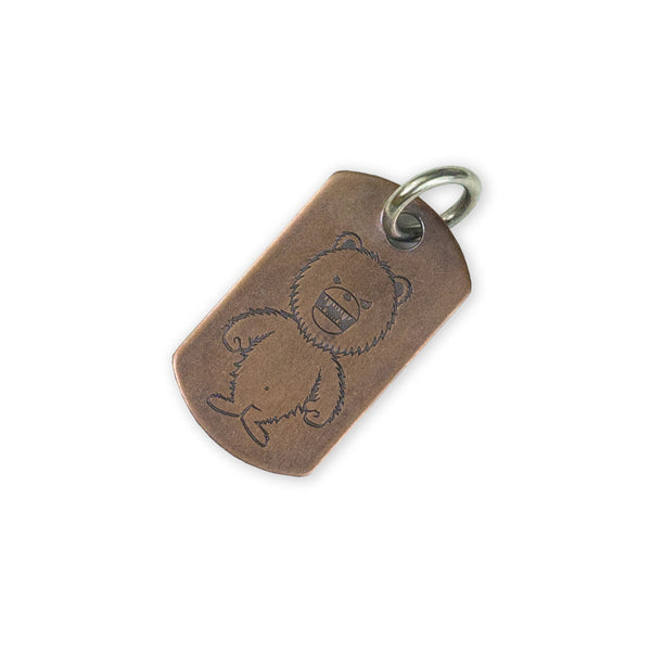 Steel Flame Copper Dog Tag - All Terrain / DRB Standing Bear with Jump Ring