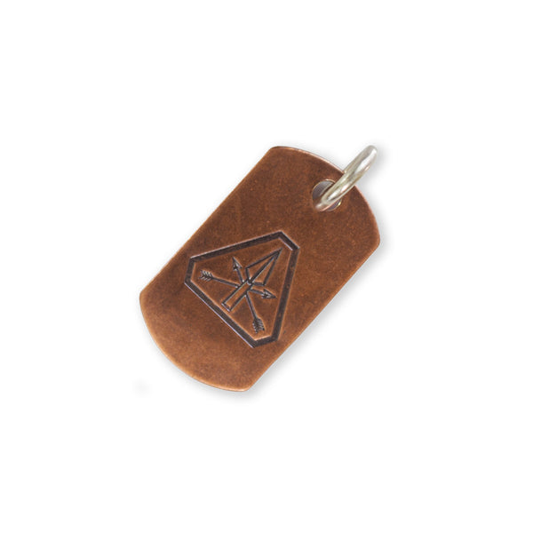 Steel Flame Copper Dog Tag - Prometheus Platoon with Jump Ring