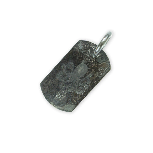 Steel Flame Stainless Fatty Dog Tag - UET Trident / PDW Waterman Logo