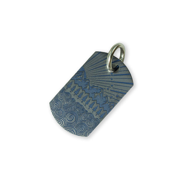 Steel Flame Titanium Dog Tag - All Terrain/Gray Knights with Jump Ring