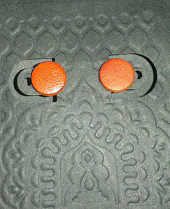 Sterling Silver Posts and Leather DOT Stud Earrings