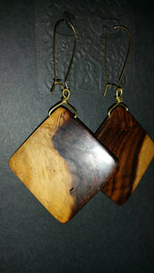 Upcycled Square Wood Earrings