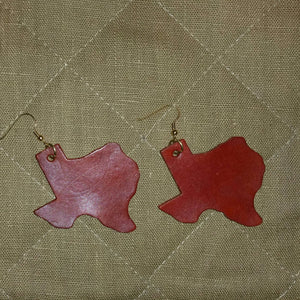 Handcrafted Texas-Shaped Leather Earrings