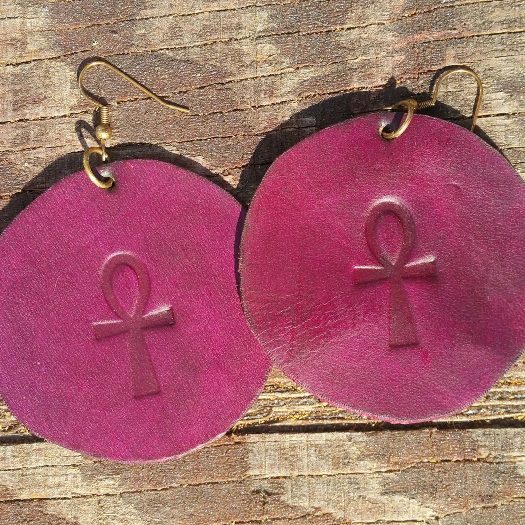 Leather Ankh Earrings