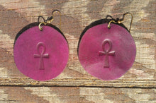 Load image into Gallery viewer, Leather Ankh Earrings