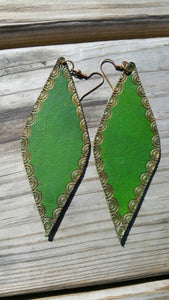 Leather Earrings with Gold Accent
