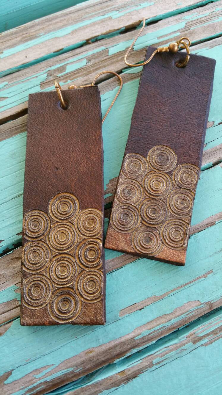 Handmade Leather Earrings Dyed with Eco Friendly Colors