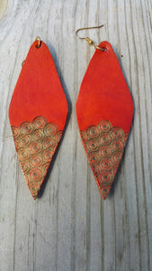 Decorated Orange Pointed Oval Earrings
