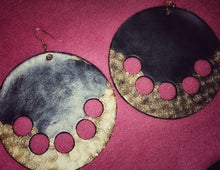 Load image into Gallery viewer, Leather Circle Earrings with Gold