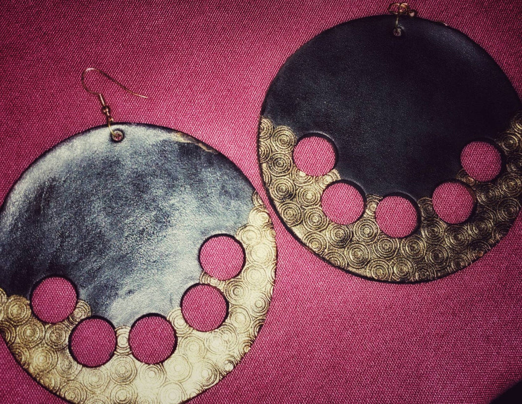 Leather Circle Earrings with Gold