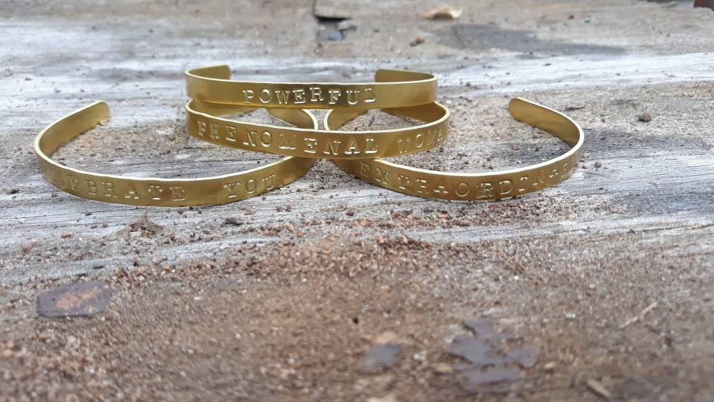 Brass Hand-Stamped Power Bracelet