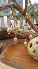 Load image into Gallery viewer, Copper and Iridescent Ceramic Beads Earrings