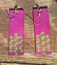 Load image into Gallery viewer, Handmade Leather Earrings Dyed with Eco Friendly Colors