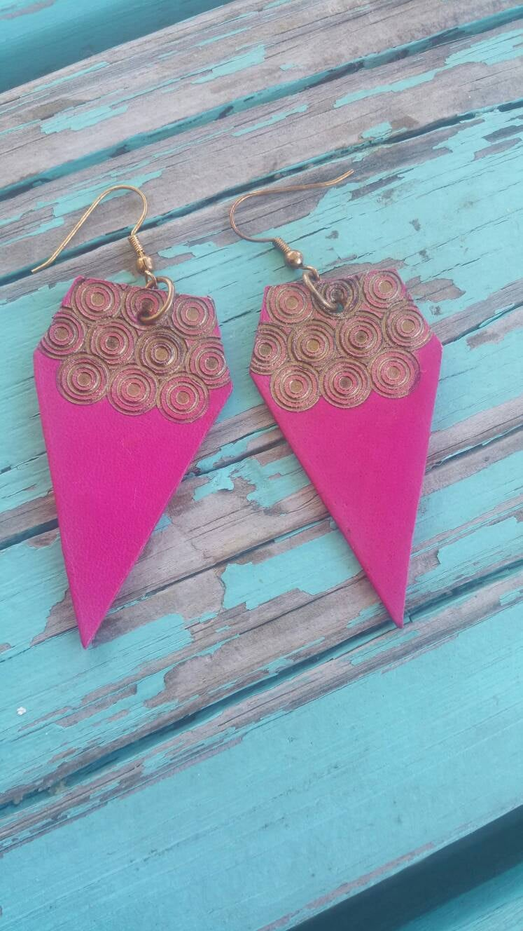 Hot Pink Leather Diamond-Shaped Earrings