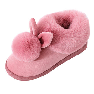 Bunny rabbit ears cotton ball slippers