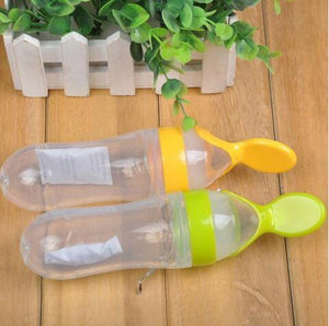 Newborn Baby Squeezing Feeding Bottle Silicone