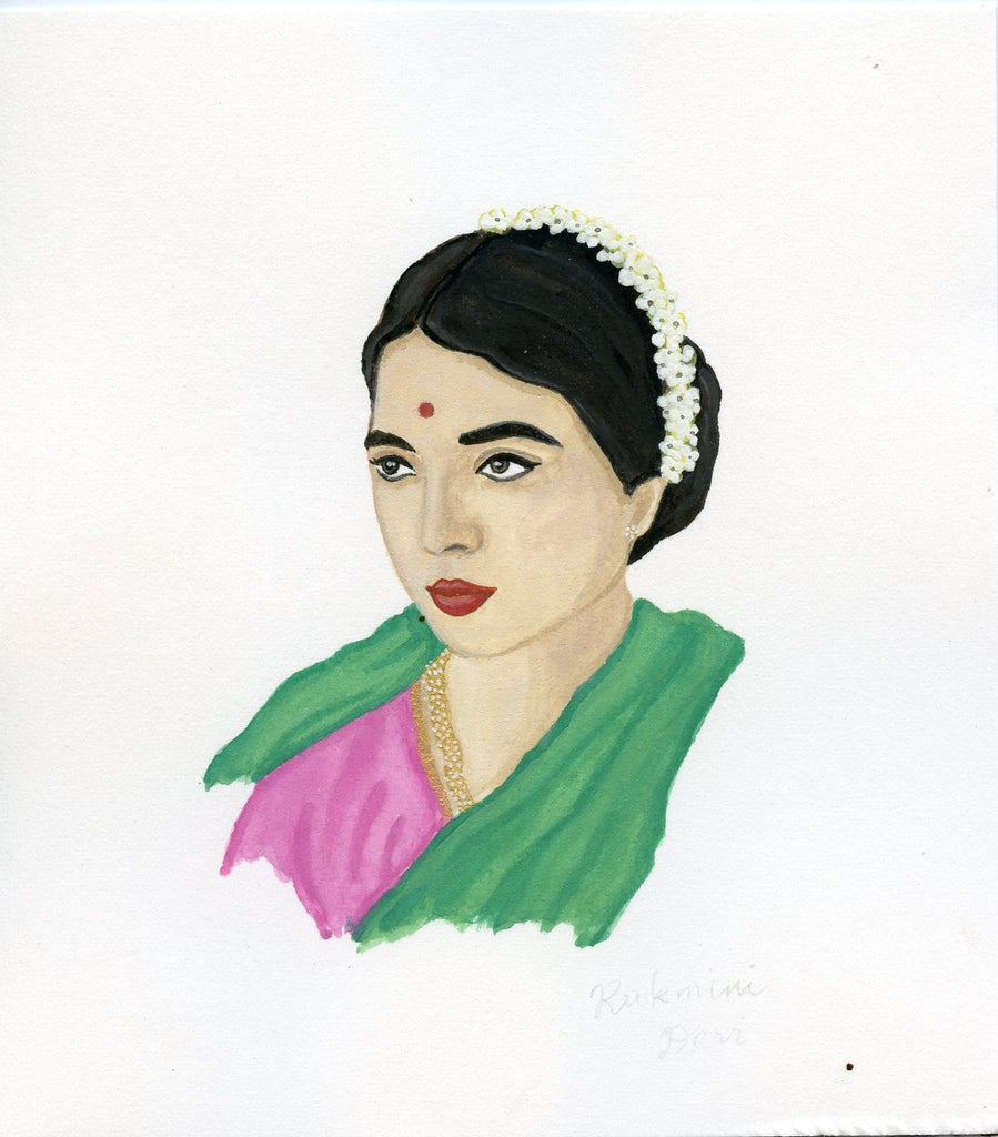 Rukmini Devi portrait in gouache by Liz Langley
