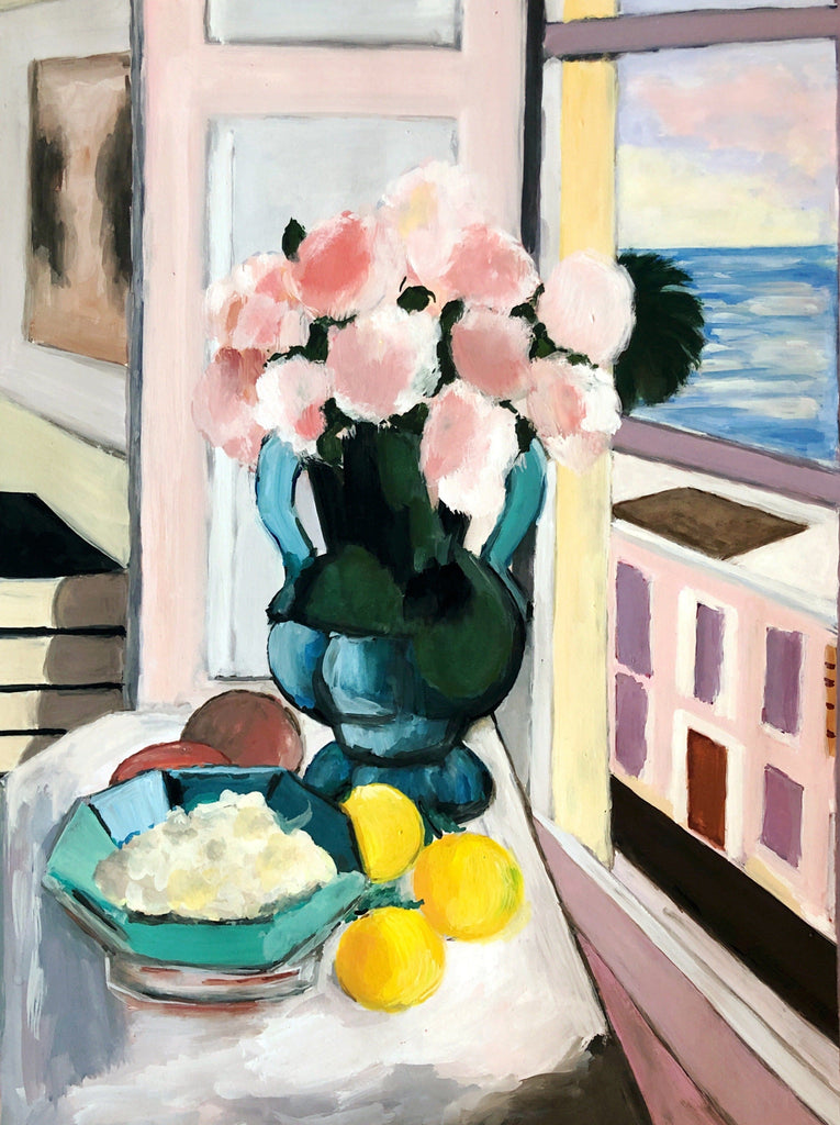study of safrano roses at the window by matisse