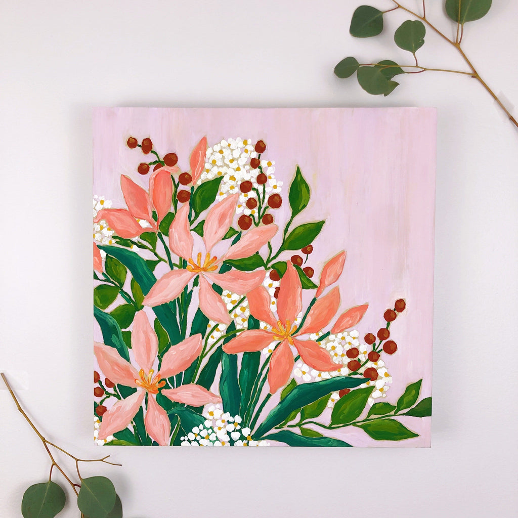 12x12 inch acrylic painting of a bouquet with pink lilies, vibrant green leaves, rust red berries and clouds of white and yellow tiny flowers on a warm lavender background by Liz Langley. This is a flatlay style shot with sprigs of eucalyptus framing the painting.