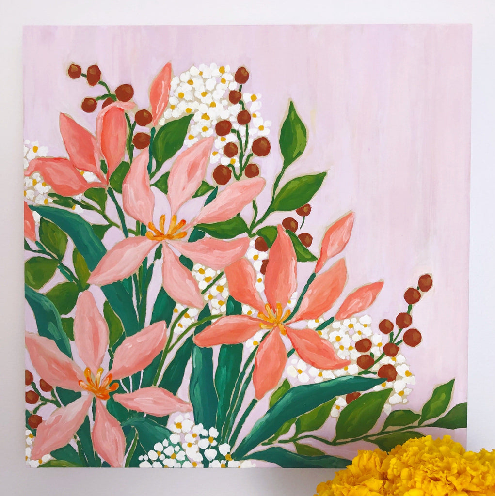 12x12 inch acrylic painting of a bouquet with pink lilies, vibrant green leaves, rust red berries and clouds of white and yellow tiny flowers on a warm lavender background by Liz Langley.