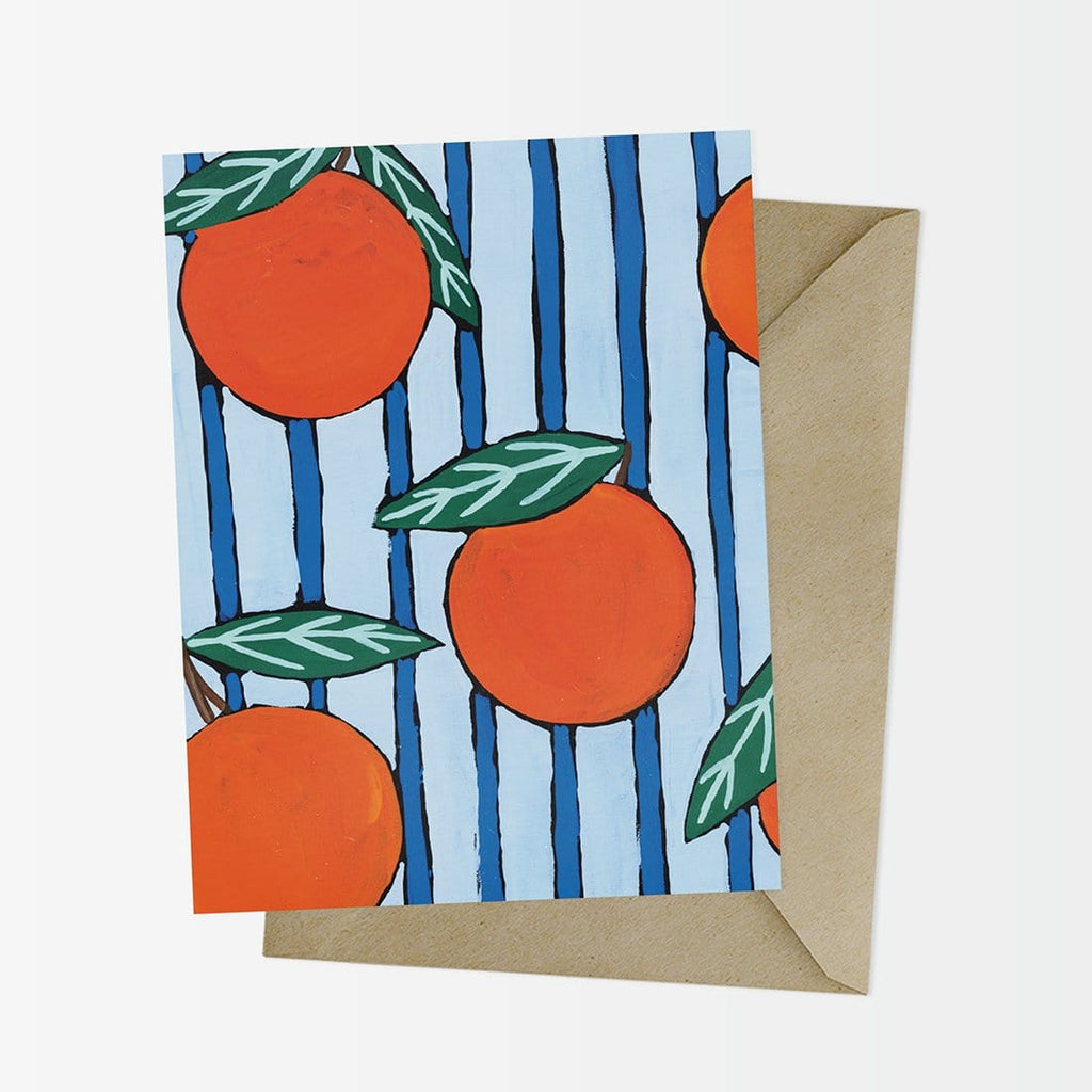 Oranges on Blue Stripe Greeting Card