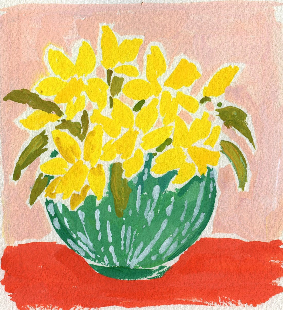 4.25x4.5 inch painting of yellow daffodils in a green and white striped vase on a red surface with a pink background by Liz Langley.